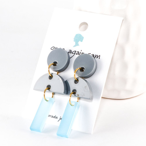 Acrylic Dangle Earrings - Hemisphere Design (Gray / Sky Blue)