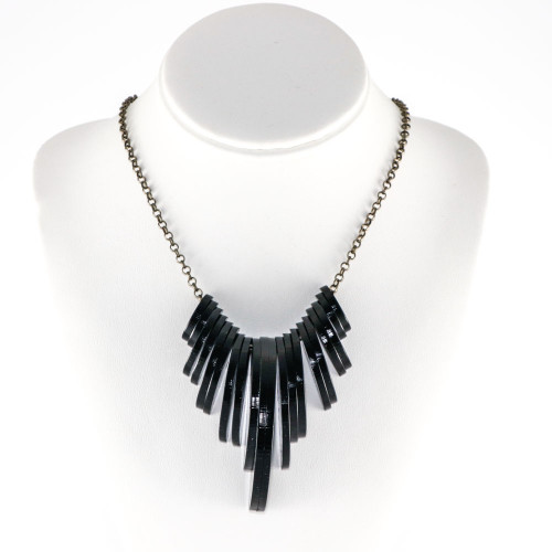 Acrylic Statement Necklace - Moon Phase (Space Black)