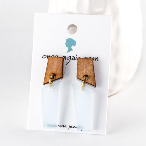 Laser Cut Acrylic Dangle Earrings - Meridian Design (Alder / Frost)