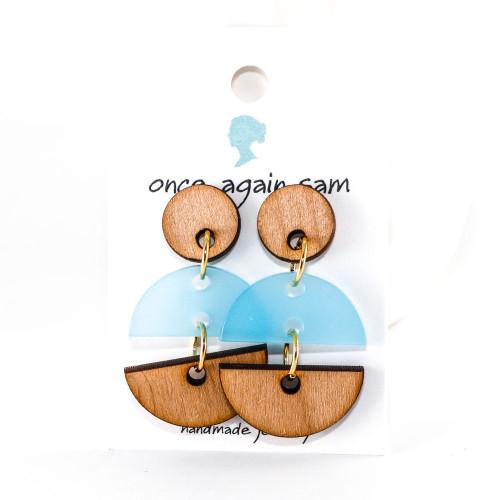 Acrylic and Wood Dangle Earrings - Hemisphere Design (Alder / Sky Blue)