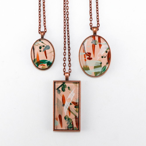 Abstract Painted Acrylic Pendant Necklace (Beach Club Colorway)