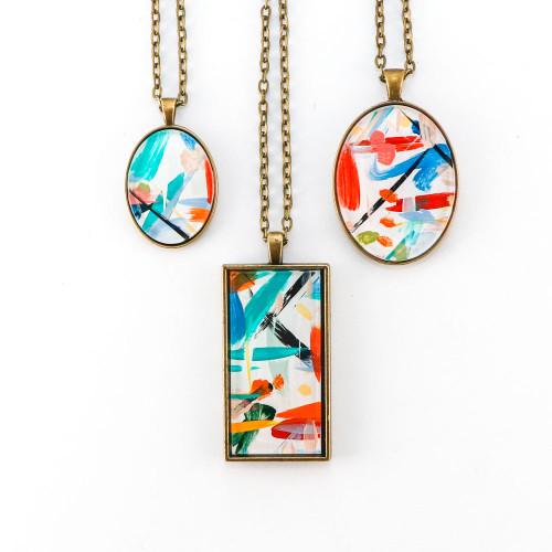 Abstract Painted Acrylic Pendant Necklace (Carnival Colorway)