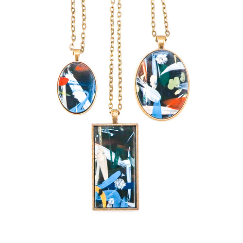 Abstract Painted Acrylic Pendant Necklace (Urban Sky Colorway)