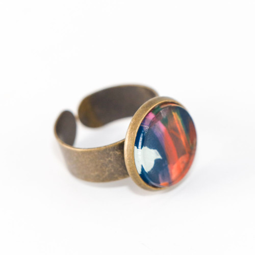 Abstract Painted Acrylic Ring - Round Brass Setting (Theater District Colorway)