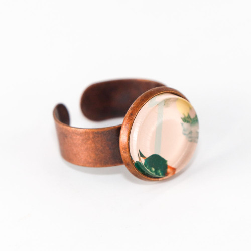 Abstract Painted Acrylic Ring - Round Copper Setting (Beach Club Colorway)
