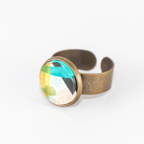 Abstract Painted Acrylic Ring - Round Brass Setting (Carnival Colorway)
