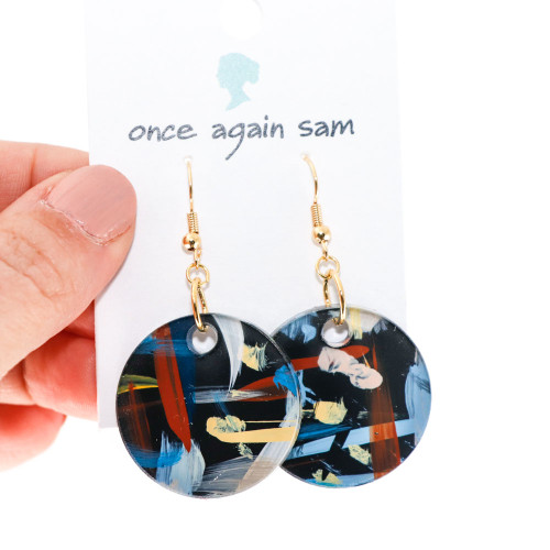Abstract Painted Acrylic Dangle Earrings - Circle Design (Urban Sky Colorway)