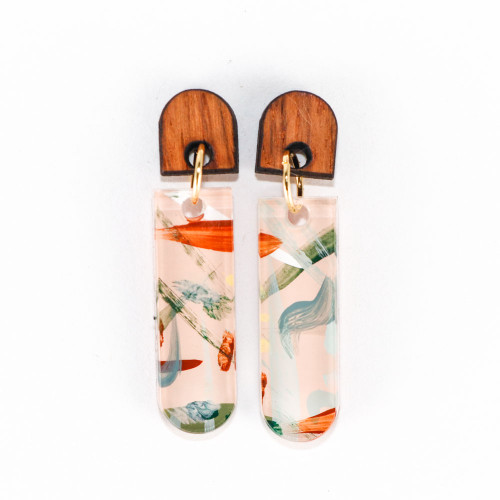Abstract Painted Acrylic Dangle Earrings - Latitude Design (Beach Club Colorway)