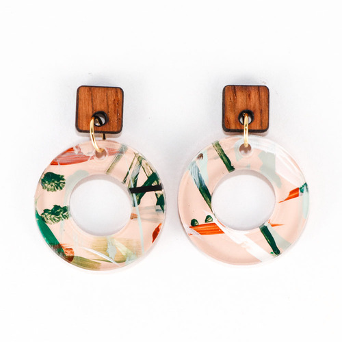 Acrylic and Wood Dangle Earrings - Ozone Design (Beach Club Colorway)