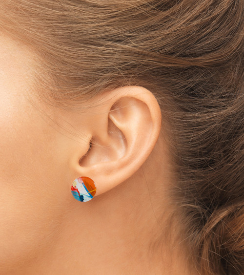 Abstract Painted Acrylic Stud Earrings - Button Design (Carnival Colorway)