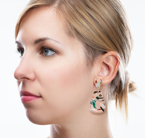 Abstract Painted Acrylic Dangle Earrings - Dewdrop Design (Beach Club Colorway)