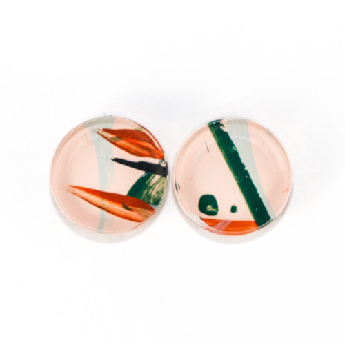 Abstract Painted Acrylic Stud Earrings - Button Design (Beach Club Colorway)