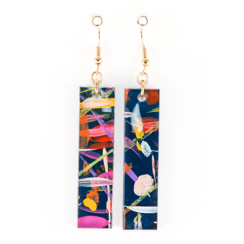 Abstract Painted Acrylic Dangle Earrings - Bar Design (Theater District Colorway)