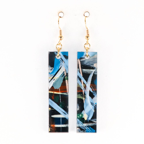 Abstract Painted Acrylic Dangle Earrings - Bar Design (Urban Sky Colorway)
