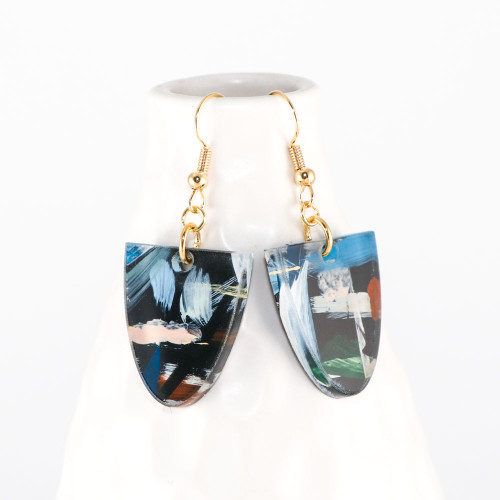 Abstract Painted Acrylic Dangle Earrings - Half Oval (Urban Sky Colorway)