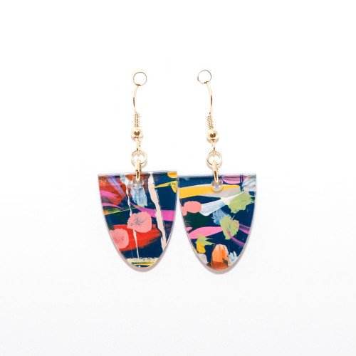 Abstract Painted Acrylic Dangle Earrings - Half Oval (Theater District Colorway)