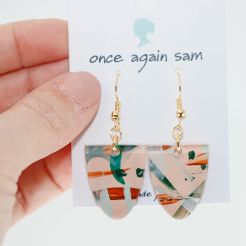 Abstract Painted Acrylic Dangle Earrings - Half Oval (Beach Club Colorway)