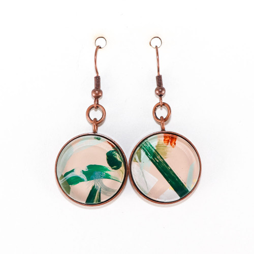 Abstract Painted Acrylic Dangle Earrings - Round Dangle (Beach Club Colorway)