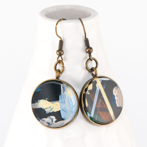 Abstract Painted Acrylic Dangle Earrings - Round Dangle (Urban Sky Colorway)