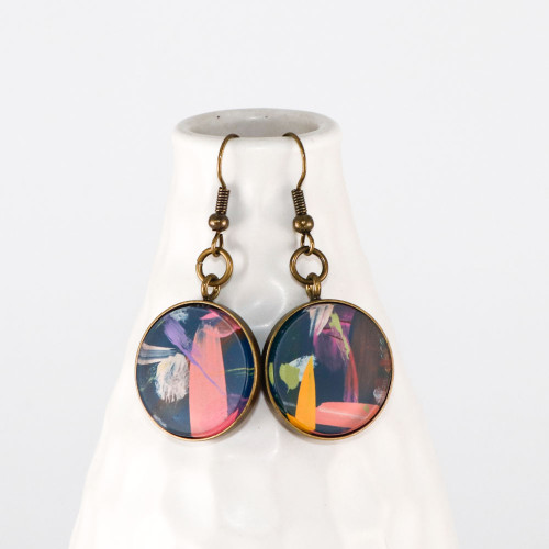 Abstract Painted Acrylic Dangle Earrings - Round Dangle (Theater District Colorway)