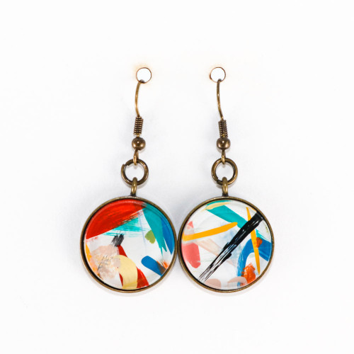 Abstract Painted Acrylic Dangle Earrings - Round Dangle (Carnival Colorway)