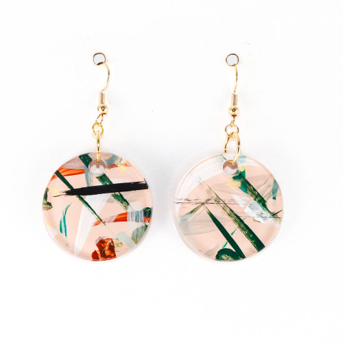 Abstract Painted Acrylic Dangle Earrings - Circle Design (Beach Club Colorway)
