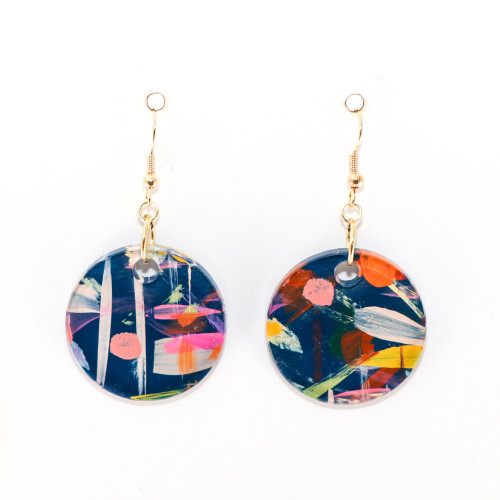 Abstract Painted Acrylic Dangle Earrings - Circle Design (Theater District Colorway)