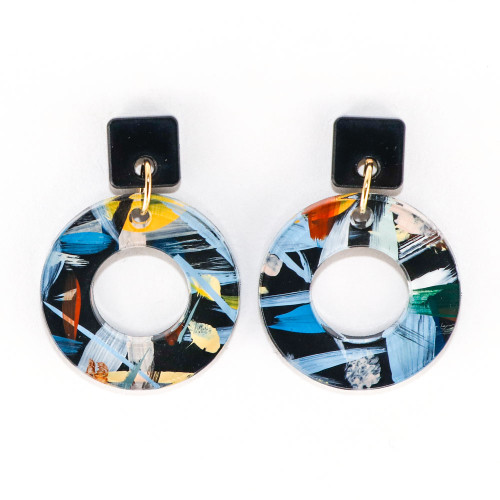 Acrylic and Wood Dangle Earrings - Ozone Design (Urban Sky Colorway)