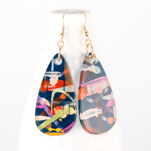 Abstract Painted Acrylic Dangle Earrings - Teardrop Design (Theater District Colorway)