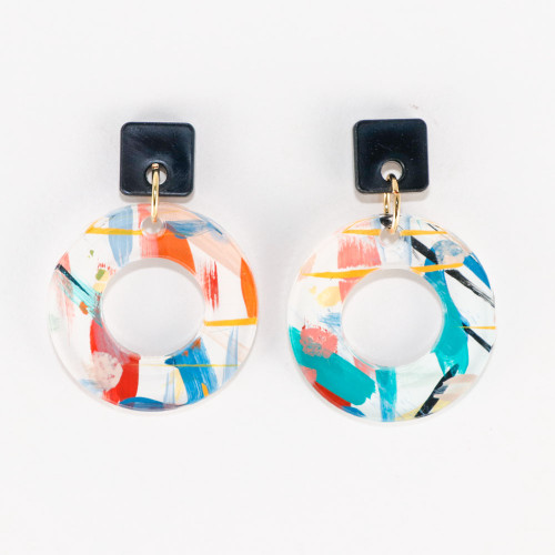 Acrylic and Wood Dangle Earrings - Ozone Design (Carnival Colorway)