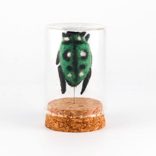 Needle Felted Green Beetle in Glass Curio Jar (1x3)