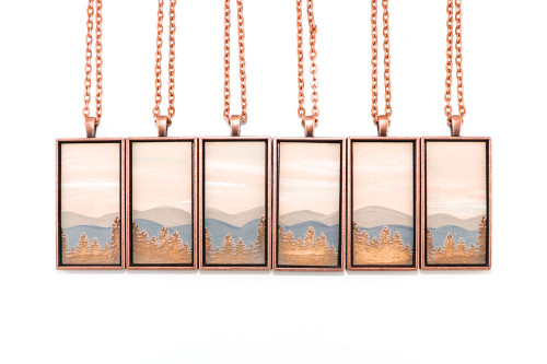 Landscape Painting Pendant - Mountains at Sunrise