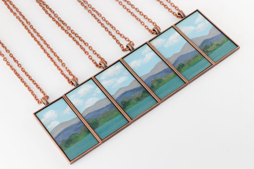 Landscape Painting Pendant - Mountain Lake