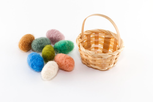 Miniature Needle Felted Easter Eggs in Basket