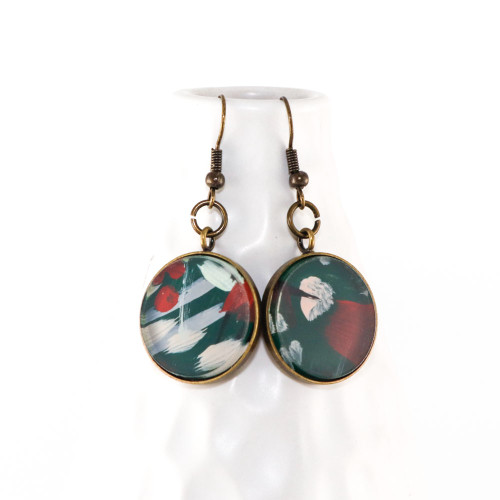 Abstract Painted Acrylic Dangle Earrings - Round Dangle (Juniper Colorway)