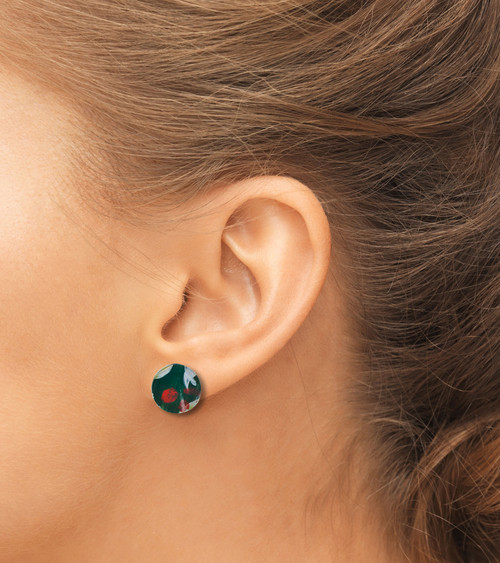 Abstract Painted Acrylic Stud Earrings - Button Design (Juniper Colorway)
