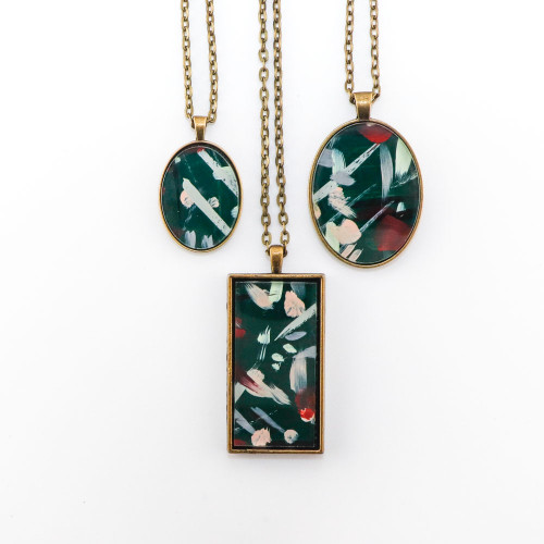 Abstract Painted Acrylic Pendant Necklace (Junpier Colorway)