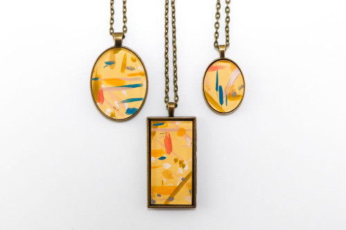 Abstract Painted Acrylic Pendant Necklace (Lemonade Colorway)
