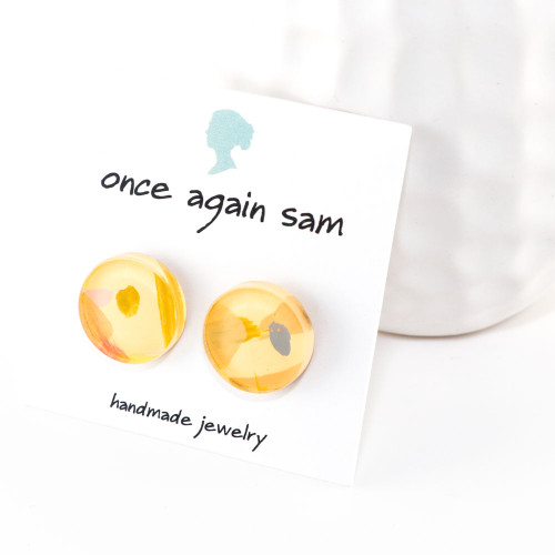 Abstract Painted Acrylic Stud Earrings - Button Design (Lemonade Colorway)