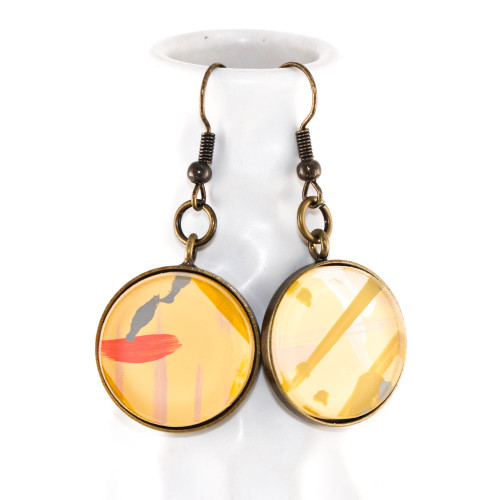 Abstract Painted Acrylic Dangle Earrings - Round Dangle (Lemonade Colorway)