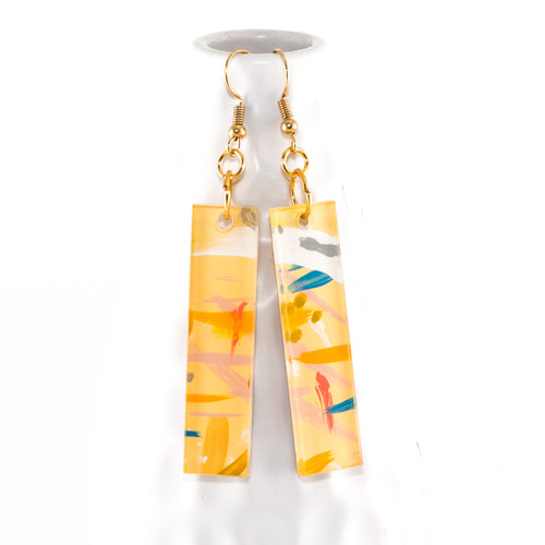 Abstract Painted Acrylic Dangle Earrings - Bar Design (Lemonade Colorway)