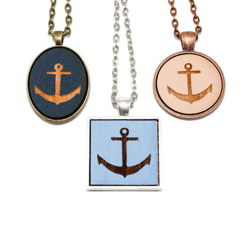 Small Cameo Pendants - Anchor