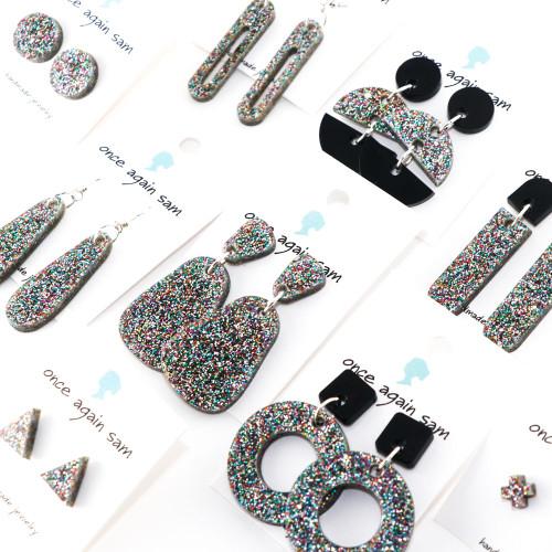 Sparkle Acrylic Dangle Earrings - Dewdrop Design