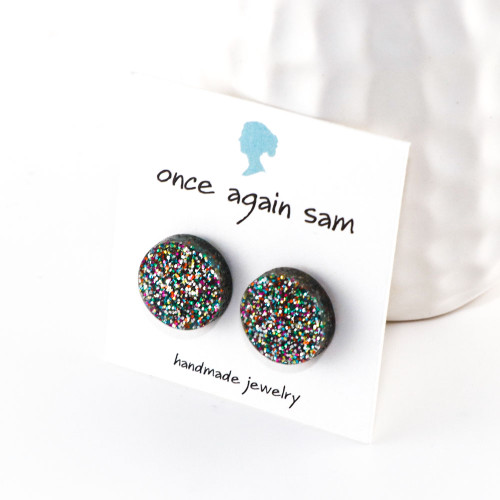 Sparkle Acrylic Stud Earrings - Button Design