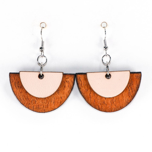 Wood & Leather Dangle Earrings - Half Circle Layers (Pale Pink / Lacewood)