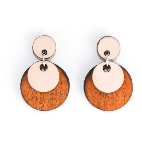 Wood & Leather Dangle Earrings - Moondrop Layers (Pale Pink / Lacewood)