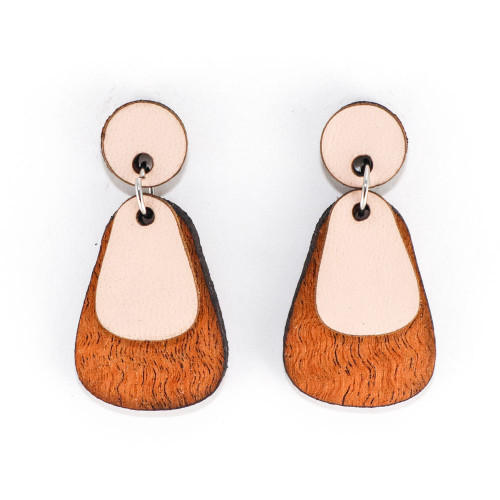 Wood & Leather Dangle Earrings - Dewdrop Layers (Pale Pink / Lacewood)
