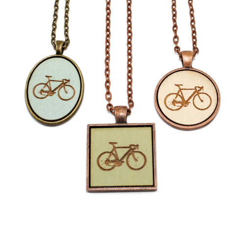 Small Cameo Pendants - Bicycle