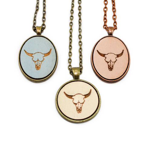 Small Cameo Pendants - Cow Skull