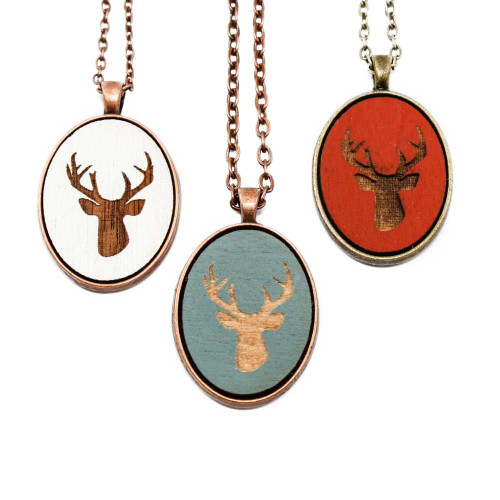 Small Cameo Pendants - Deer Head